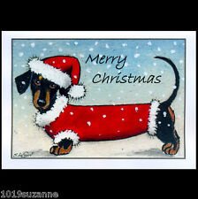 Large Dachshund dog Doxie art painting glitter Christmas card by Suzanne Le Good