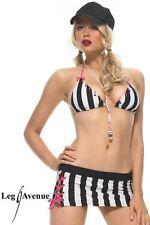 Sexy Costume Arbitro Bianco Nero Mini Gonna Top Cappellino Fischietto Leg Avenue