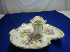 More details for dresden porcelain candle holder in white with gilding and sprays of flowers