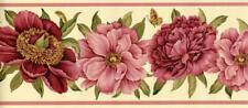Waverly Coral Pink Red Cabbage Vintage Floral Flower Wallpaper Border Wall Decor