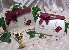 Einladung Einladungskarte ZUR KOMMUNION Creme Bordeaux Gold Handarbeit