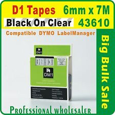 Dymo D1 6mm x 7m Black on Clear 43610 Compatible Label Tape