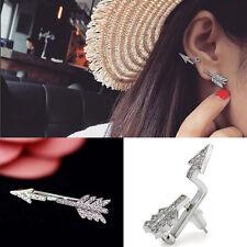 Fashion Punk Bow Arrow Crystal Ear Stud Women's Vintage Earrings Jewelry Gift