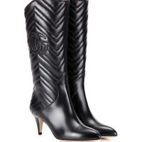 Gucci Charlotte Matelasse Quilted Chevron Black Leather Boots, Size 40; NIB