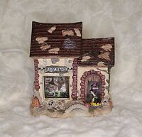 Halloween Village Ghost House Lighted Skull Pumpkins Window to Inside