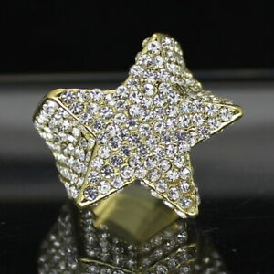 Mens Iced Star Pinky Ring Cz Band 14k Gold Plated Hip Hop Jewelry