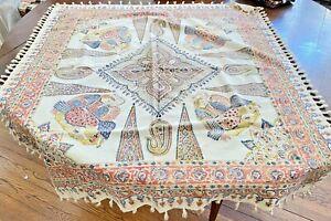 Vintage Persian Cotton Hand Woven & Printed Kalimkari Square Shawl Figural WW320