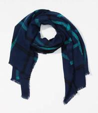 NWT Ann Taylor Loft Plaid Blanket Scarf 32x71 Blue $44.50