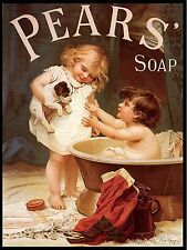 Vintage Retro Bathroom Metal Sign Plaque Pears Puppy Soap Advert Wall Picture