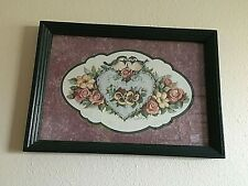 Home Interiors Homco 2 Birds On Heart w/Flowers Picture Hunter Green Frame 18x13