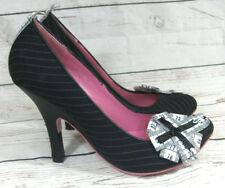 Irregular Choice Ladies Mini Magic Tape Measure Kitten Heels Black Size 37/4