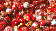 Bead Oddment - Large Lampwork & Glass Beads - 50gms  - Hot Red Mix