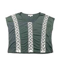 Umgee Womens M Tunic Top Oversized Draped Crochet Lace Army Green Medium