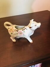 Vintage Wales Cow/Bull Pink Flowers Creamer Pitcher