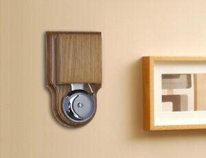 Wired Wall Mounted London Striker Chrome Doorbell / Buzzer, in a Solid Honey Oak