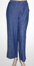 Pre-owned Linea by Louis Dell'Olio Regular Size 16 Linen Wide Leg Pants BLUE