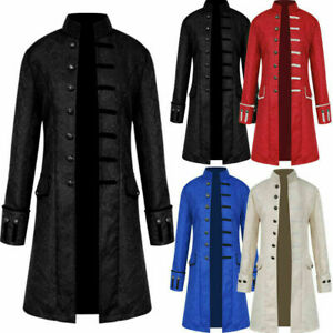Men Jackets Steampunk Vintage Tailcoat Gothic Victorian Frock Halloween Cosplay
