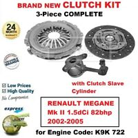 FOR RENAULT MEGANE Mk II 1.5dCi 82bhp 2002-2005 BRAND NEW 3PC CLUTCH KIT and CSC