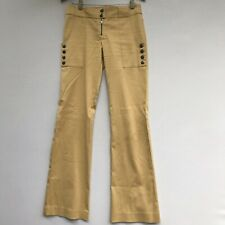 BEBE Size 2 Stretch Pants Gold Metallic Zipper Buttons