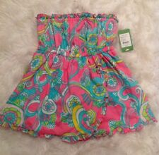 NWT LILLY PULITZER L Sleeveless Ruffle Babydoll Hotty Pink Shell We Dance Top