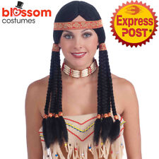 W603 Deluxe Black Indian Costume Wig With Headband Pocahontas Long Black Plaits