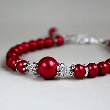 Red vintage style pearls crystals beaded bracelet party wedding bridesmaid gift