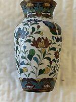 """Unusual Japanese Cloisonne Vase 5.5x3"""" WHITE Ground w Bright Butterflies, Flower"""