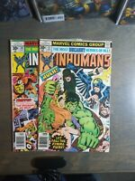 The Inhumans 2 Book lot #10,12 ~ 1977 Marvel Comics
