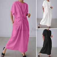 UK Womens Summer Short Sleeve Casual Loose Evening Party Dress Twisted Sundress