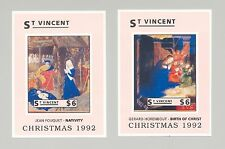St Vincent #1725, 1727 Christmas, Art 2v S/S Imperf Proofs from set