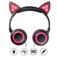 Foldable Cat Ear Headphone Flashing Light Headset Pink Earphone For Kids Girl