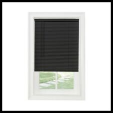 28x64 Inch Vinyl Mini Blind Cordless Light Filtering Privacy Window Shade Black