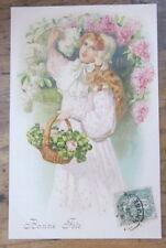 Cartolina d'epoca in rilievo Bambini- 1907 - postcard - tarjeta -