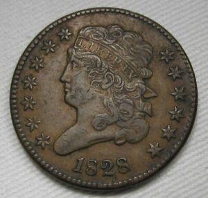 1828 13 Stars Half Cent XF-CH XF Coin Estate Piece AE245