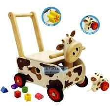 Kids Wooden Walker & Rider Shape Sorting Cow Baby Activity Walking Toy & Gift