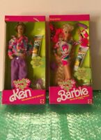 Mattel Barbie Doll 1991 Totally Hair Barbie Blonde and Ken lot of 2 New