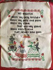 Vintage Bless My Cozy Kitchen Cross Stitch Handmade Embroidery Sampler~14x11