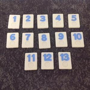 Pressman 1980 Rummikub 1-13 Game Replacement 13 Plastic Tiles, used (BLUE)