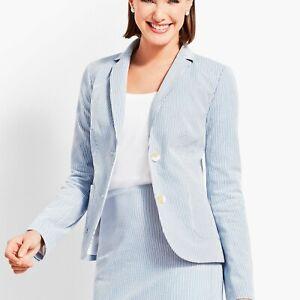 NWT Talbots Blue White Seersucker Blazer Jacket 22W Plus Size (MSRP $199)
