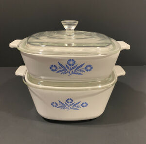 2 Corning Ware Baking Casserole Dish w/ Lids Blue Cornflower P-1 3/4-B, P-1-B
