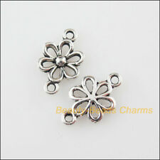 40 New Charms Flower Star Tibetan Silver Tone Pendants Connectors 9x15.5mm