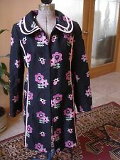 CYNTHIA STEFFE BLACK COTTON EMBROIDERED OPEN FRONT LIGHT COAT SZ XS/S EUC fds