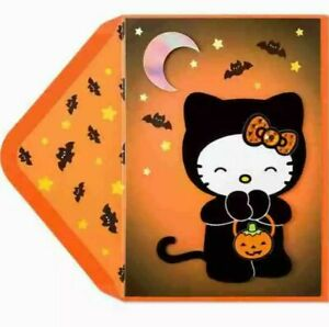 Papyrus Halloween Card Hello Kitty In Velvet Cat Suit with Huge Bow, Bats, Moon