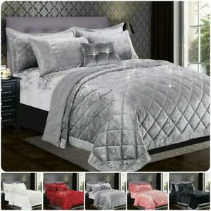 Luxury Crushed Santiago Velvt Bedspread Quilted Comforter Bed Throw Bedding Set