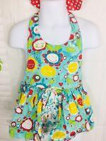 Girls 24 Months Jelly The Pug Sleeveless Floral Polka Dot Print Halter Shirt
