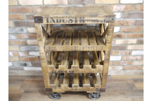 Industrial Wood & Iron Cart  Style Wheeled Wine Trolley