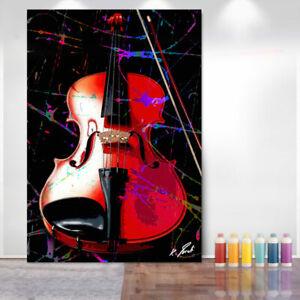 Abstraktes Bild Geige Musik Bunt Farbe Leinwand Kunst Bilder Wandbilder D2128