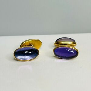 Vintage 14k Yellow Gold Purple Glass Cuff Links