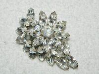 Flashy Silvertone & Big Clear Rhinestone Flower Brooch Pin
