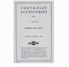 1959 Chevrolet New Car Retail Accessory Price Booklet.